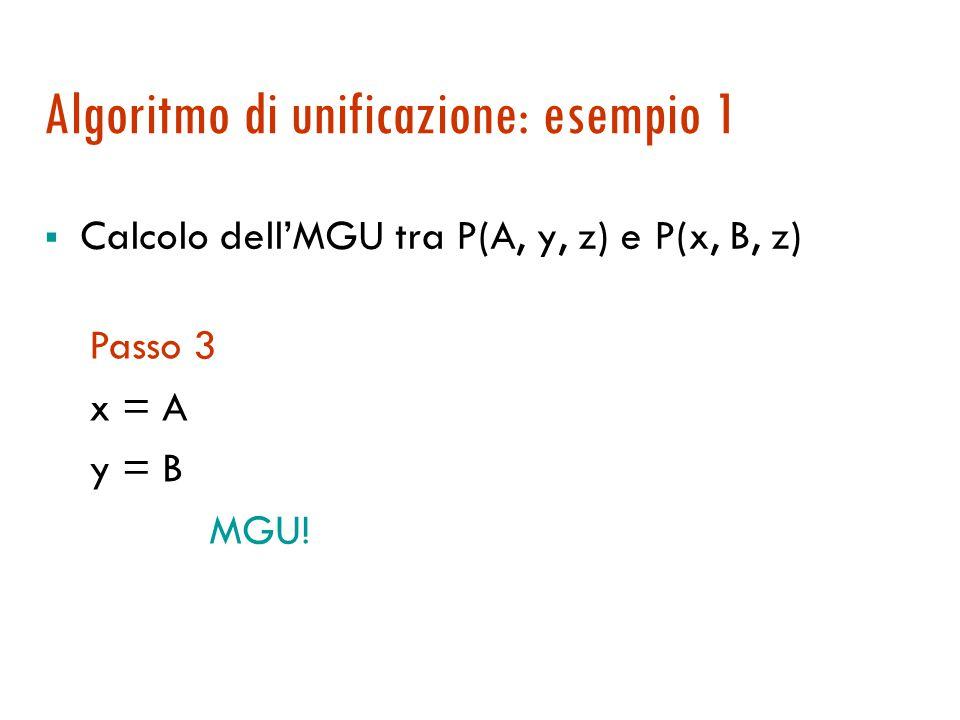 Algoritmo di unificazione: esempio 1