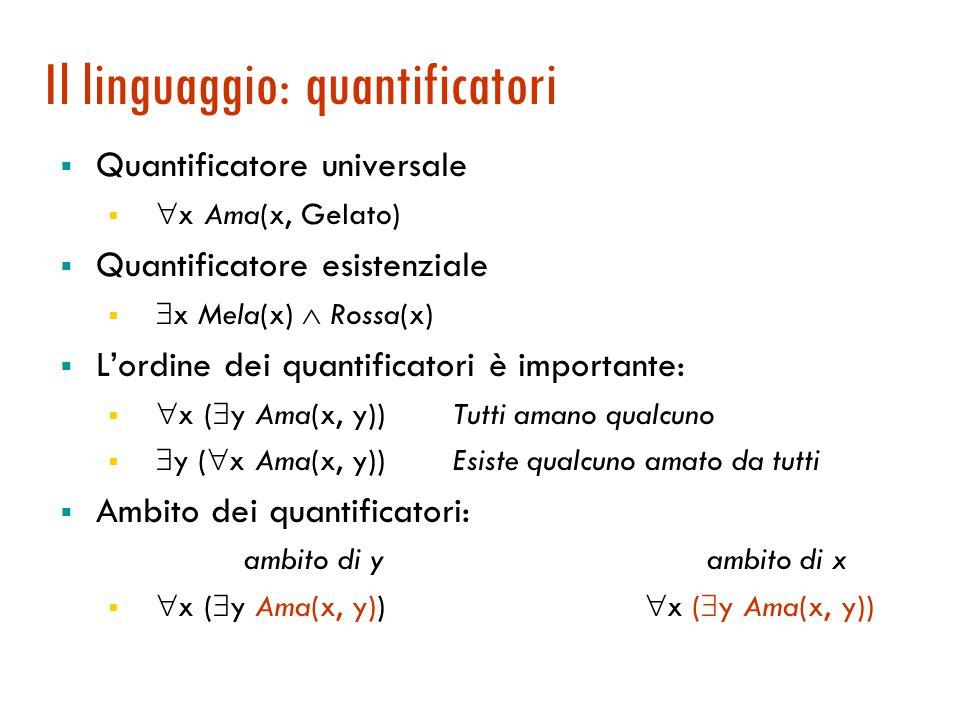 Il linguaggio: quantificatori