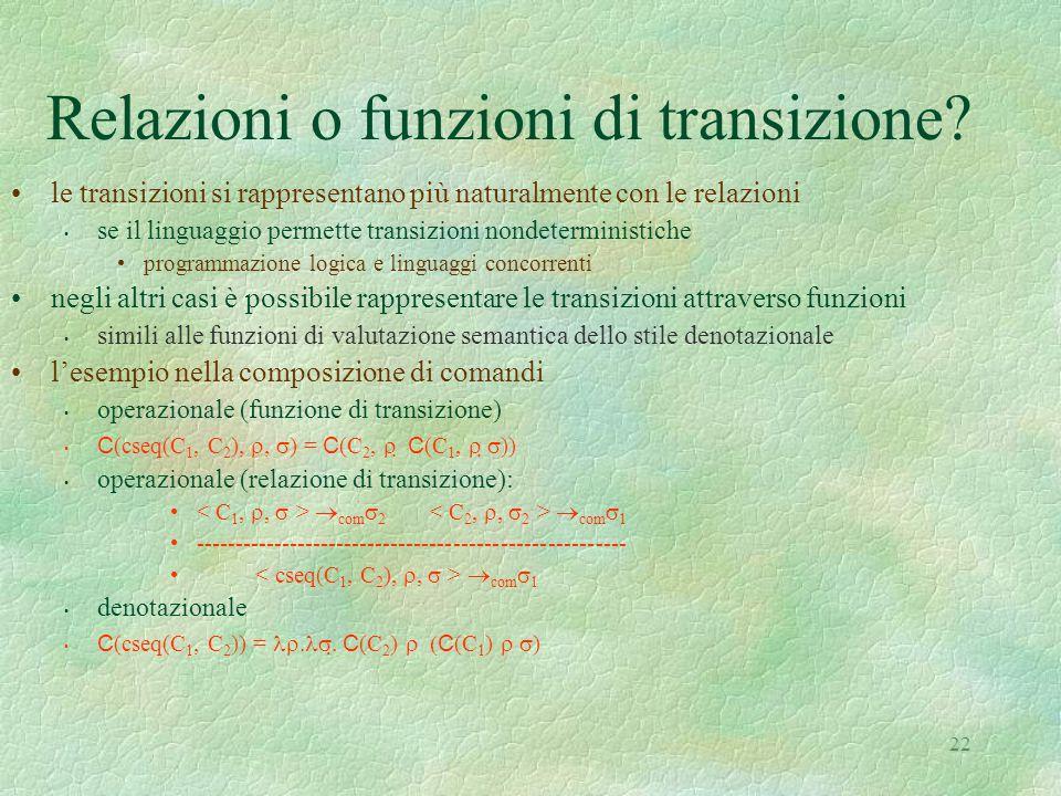 Relazioni o funzioni di transizione