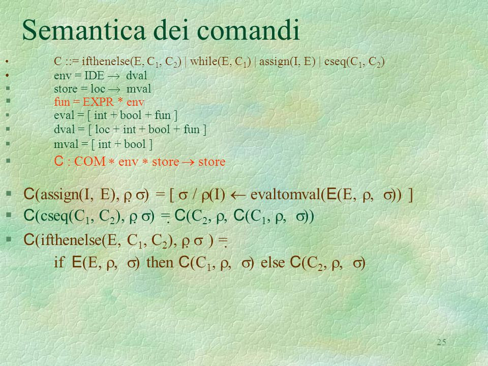 Semantica dei comandi C ::= ifthenelse(E, C1, C2) | while(E, C1) | assign(I, E) | cseq(C1, C2) env = IDE  dval.
