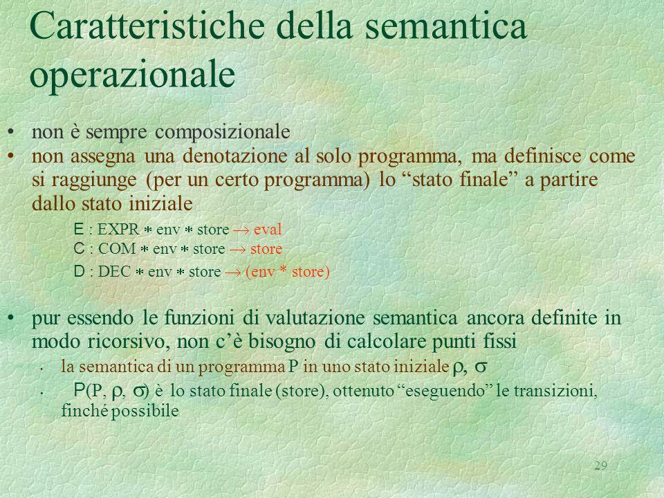 Caratteristiche della semantica operazionale