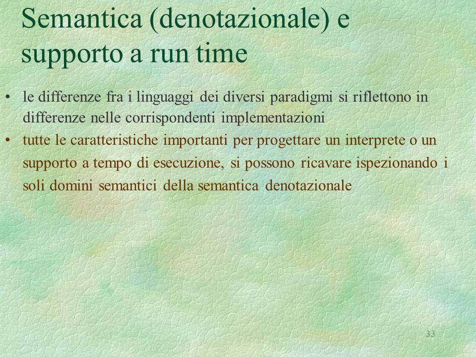 Semantica (denotazionale) e supporto a run time