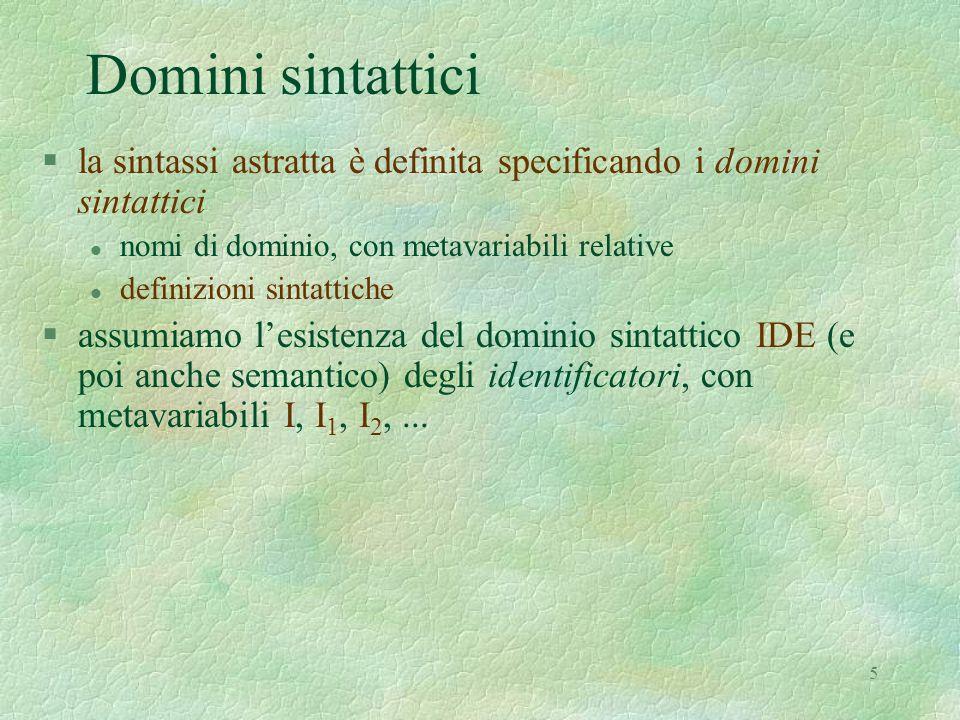 Domini sintattici la sintassi astratta è definita specificando i domini sintattici. nomi di dominio, con metavariabili relative.