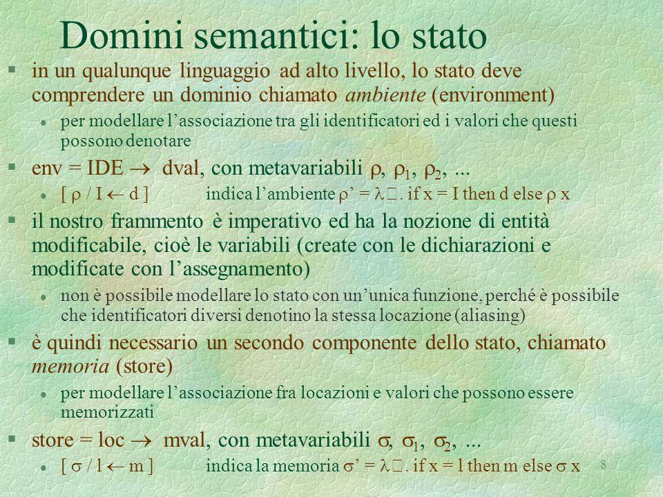 Domini semantici: lo stato