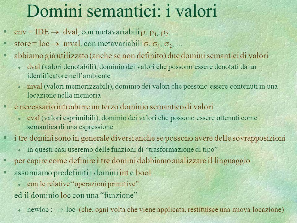 Domini semantici: i valori