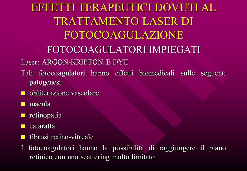 EFFETTI TERAPEUTICI DOVUTI AL TRATTAMENTO LASER DI FOTOCOAGULAZIONE