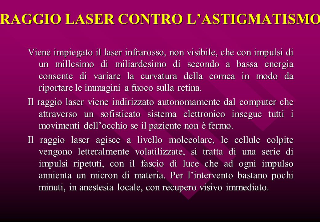 RAGGIO LASER CONTRO L'ASTIGMATISMO