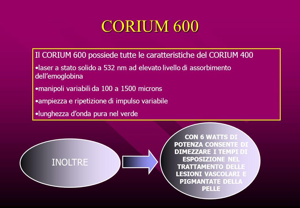CORIUM 600 Il CORIUM 600 possiede tutte le caratteristiche del CORIUM 400.
