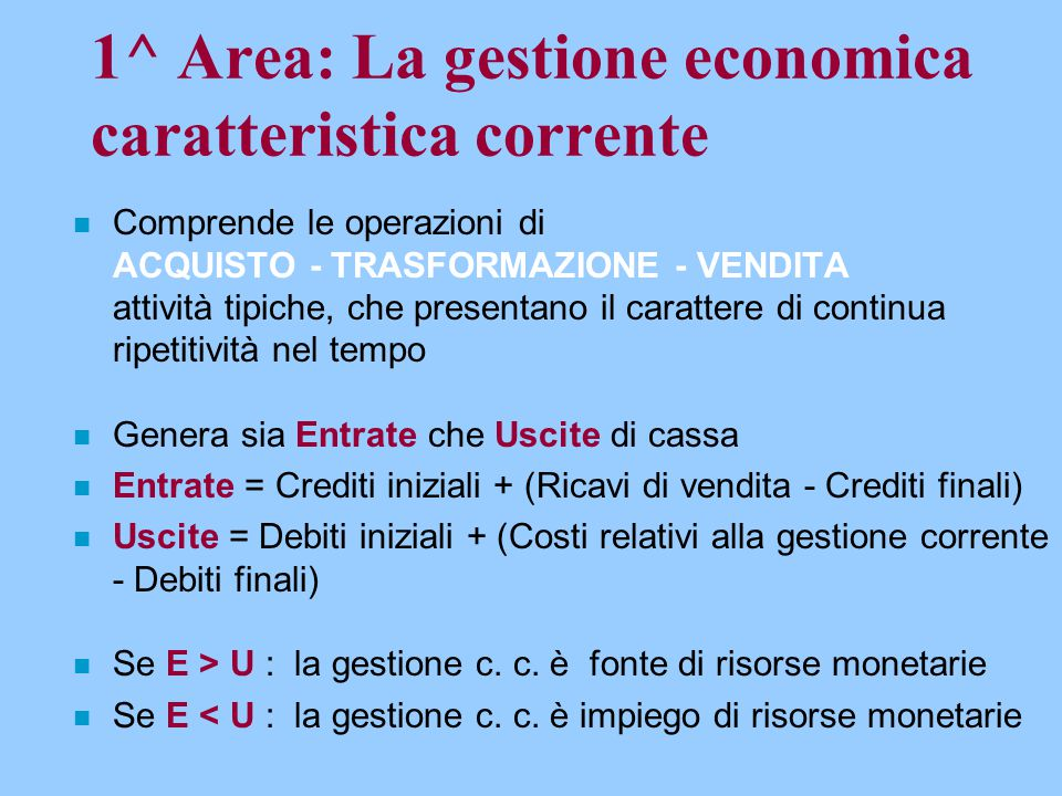 1^ Area: La gestione economica caratteristica corrente