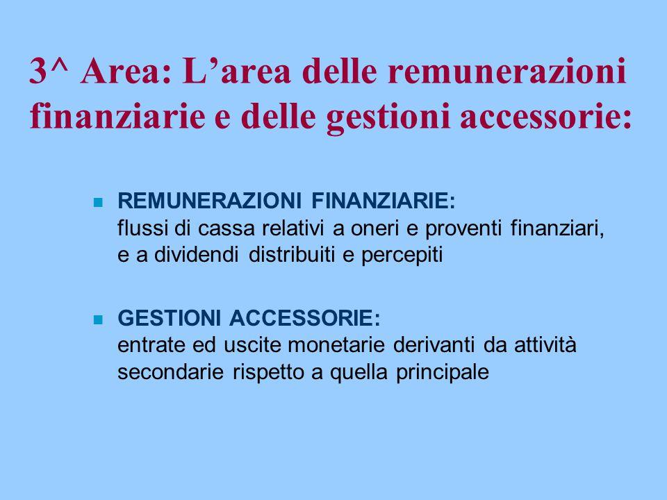 3^ Area: L'area delle remunerazioni finanziarie e delle gestioni accessorie: