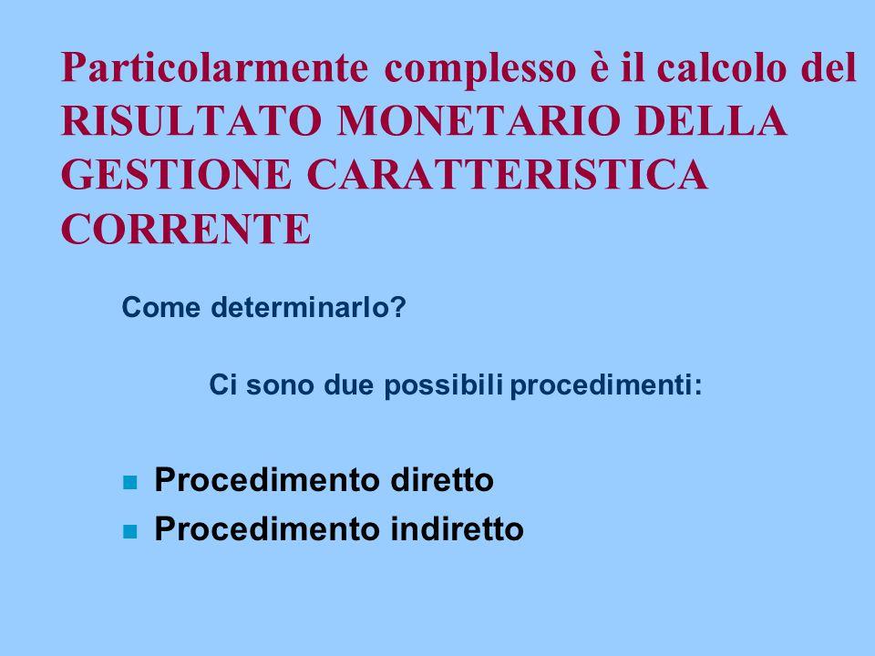 Particolarmente complesso è il calcolo del RISULTATO MONETARIO DELLA GESTIONE CARATTERISTICA CORRENTE