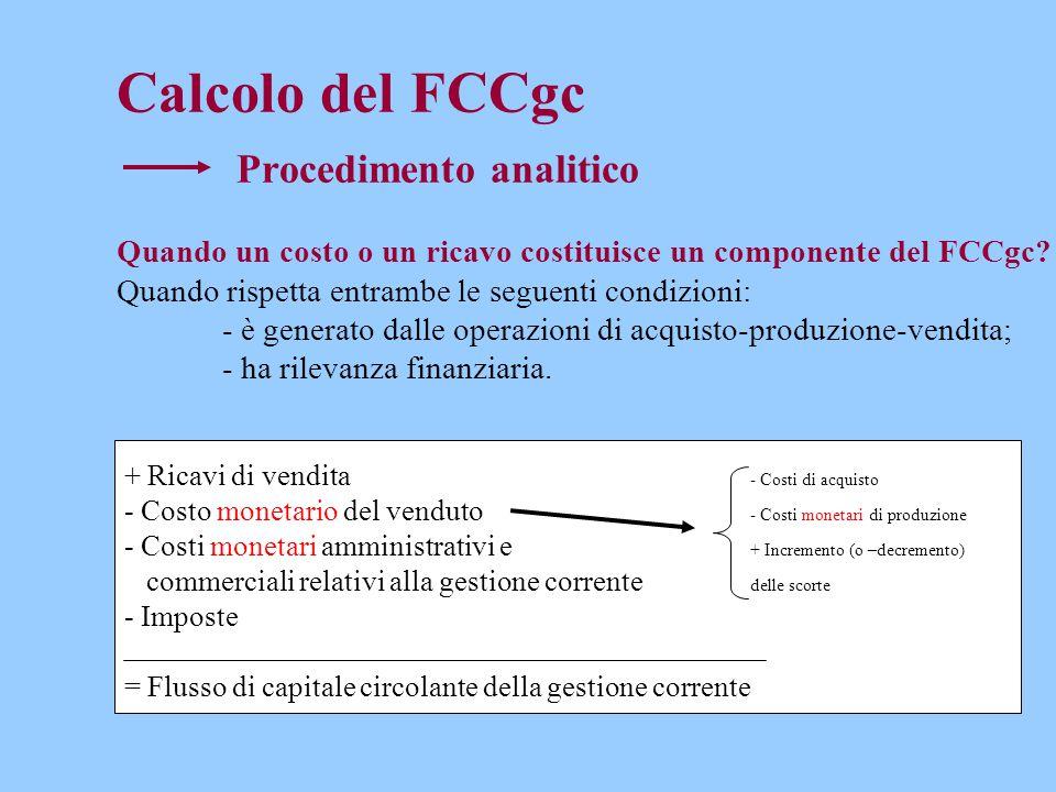Calcolo del FCCgc Procedimento analitico Quando un costo o un ricavo costituisce un componente del FCCgc.