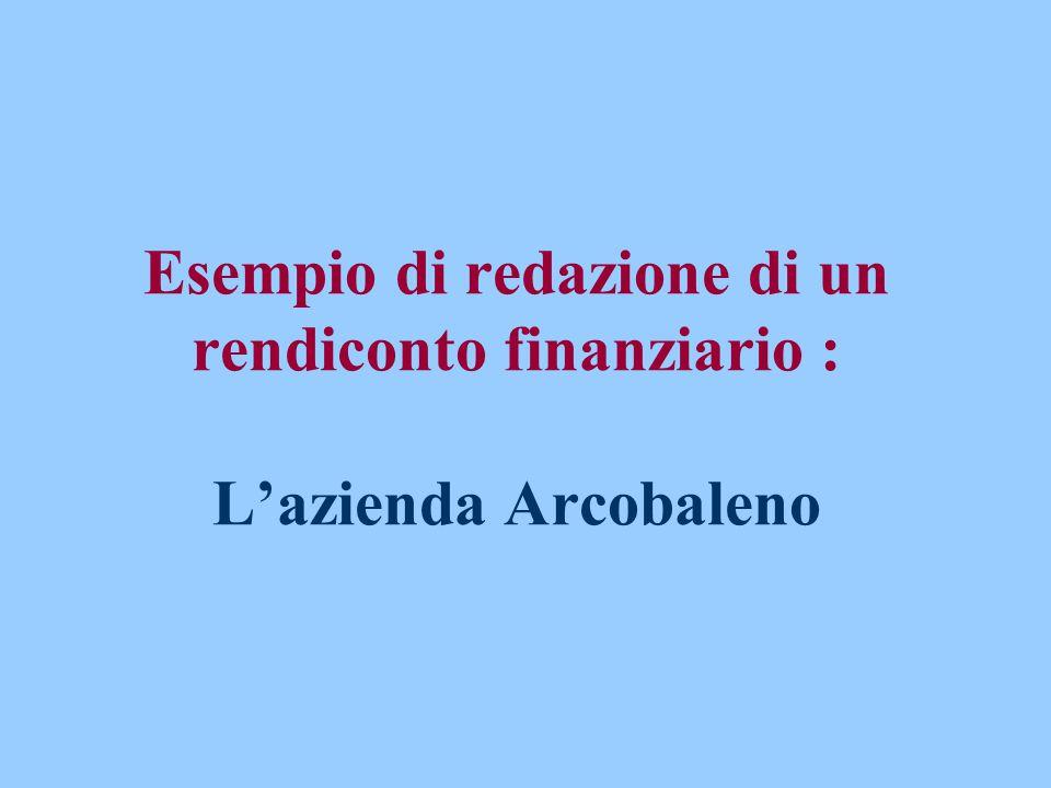 Esempio di redazione di un rendiconto finanziario : L'azienda Arcobaleno