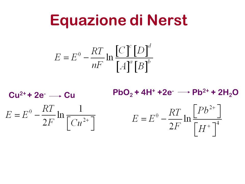 Equazione di Nerst Cu2+ + 2e- Cu PbO2 + 4H+ +2e- Pb2+ + 2H2O