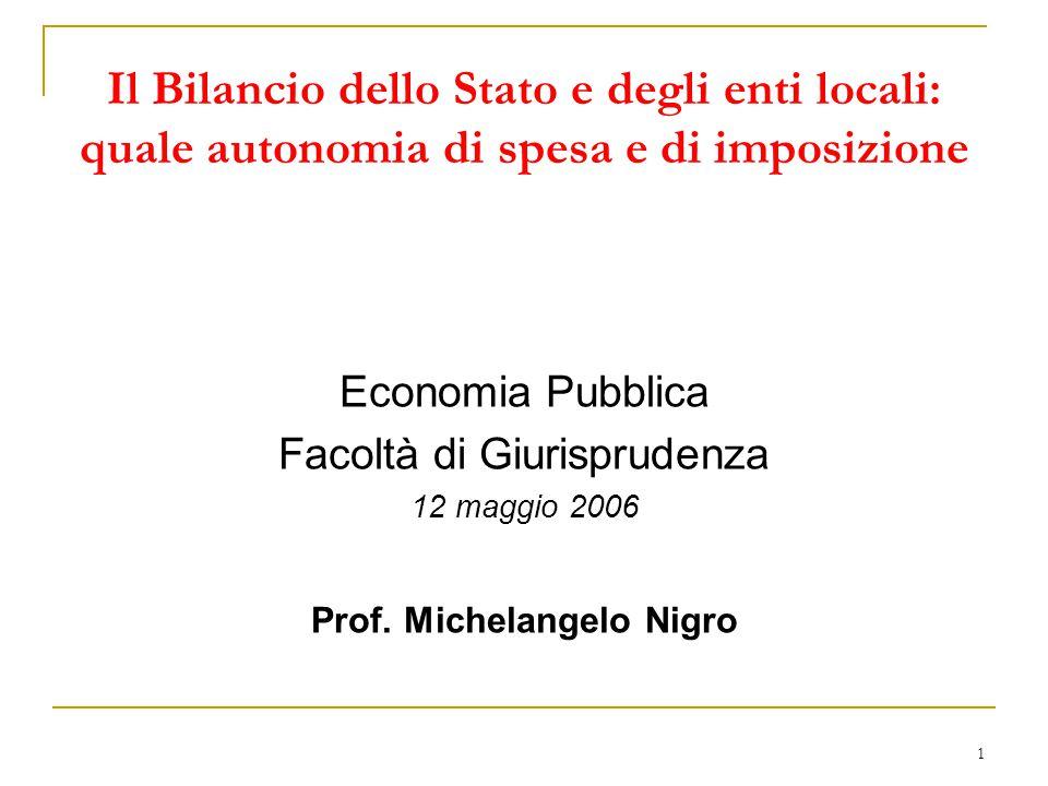 Il Bilancio dello Stato e degli enti locali: quale autonomia di spesa e di imposizione