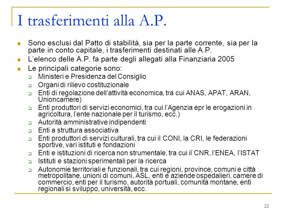 I trasferimenti alla A.P.