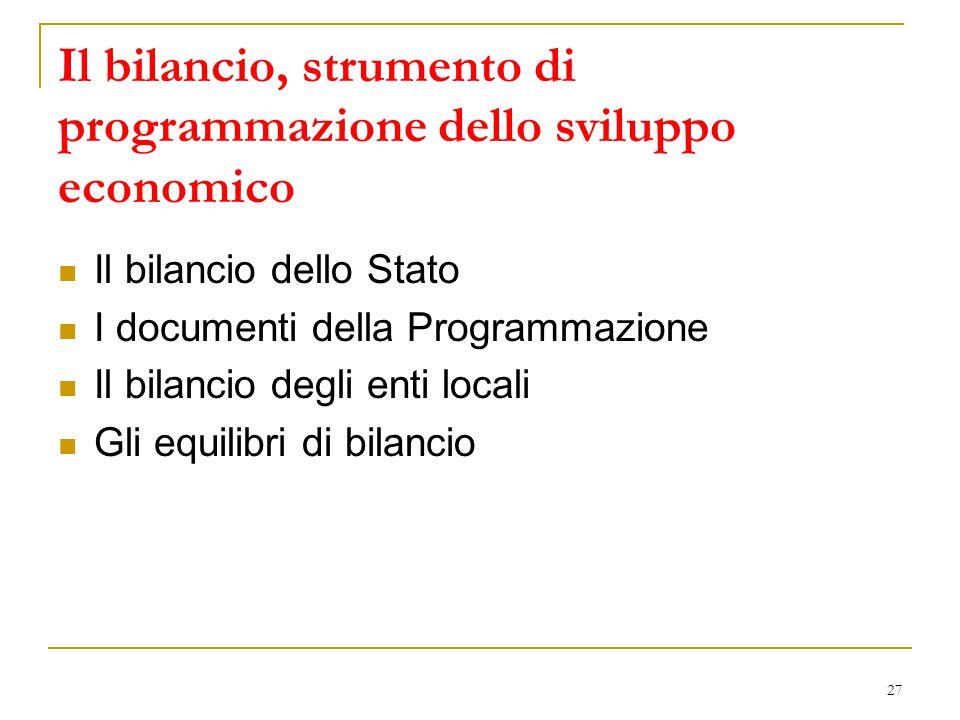 Il bilancio, strumento di programmazione dello sviluppo economico