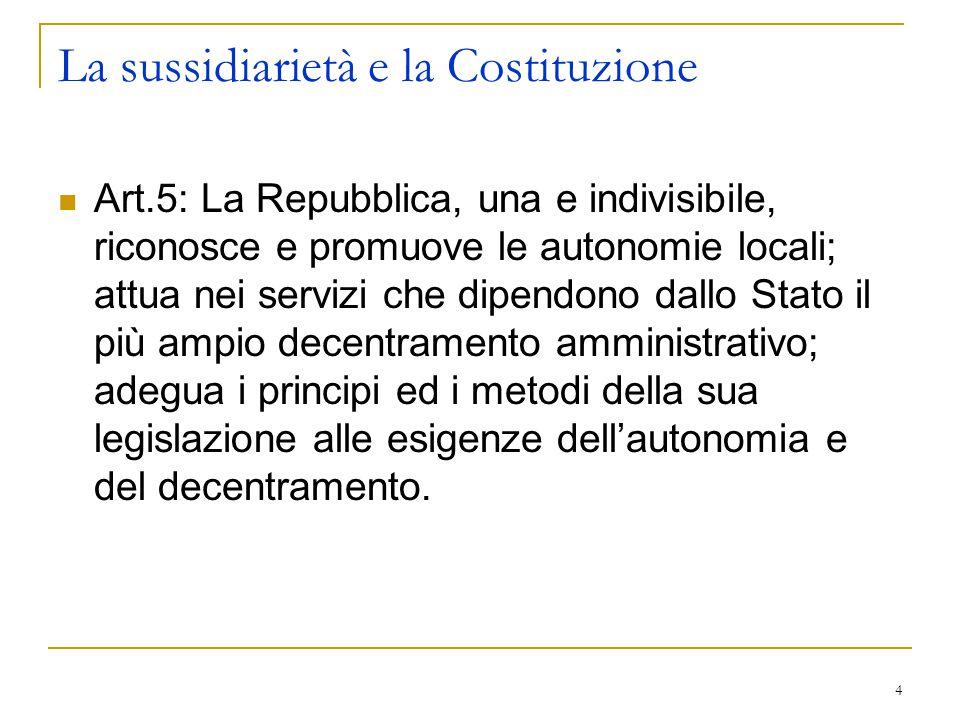 La sussidiarietà e la Costituzione