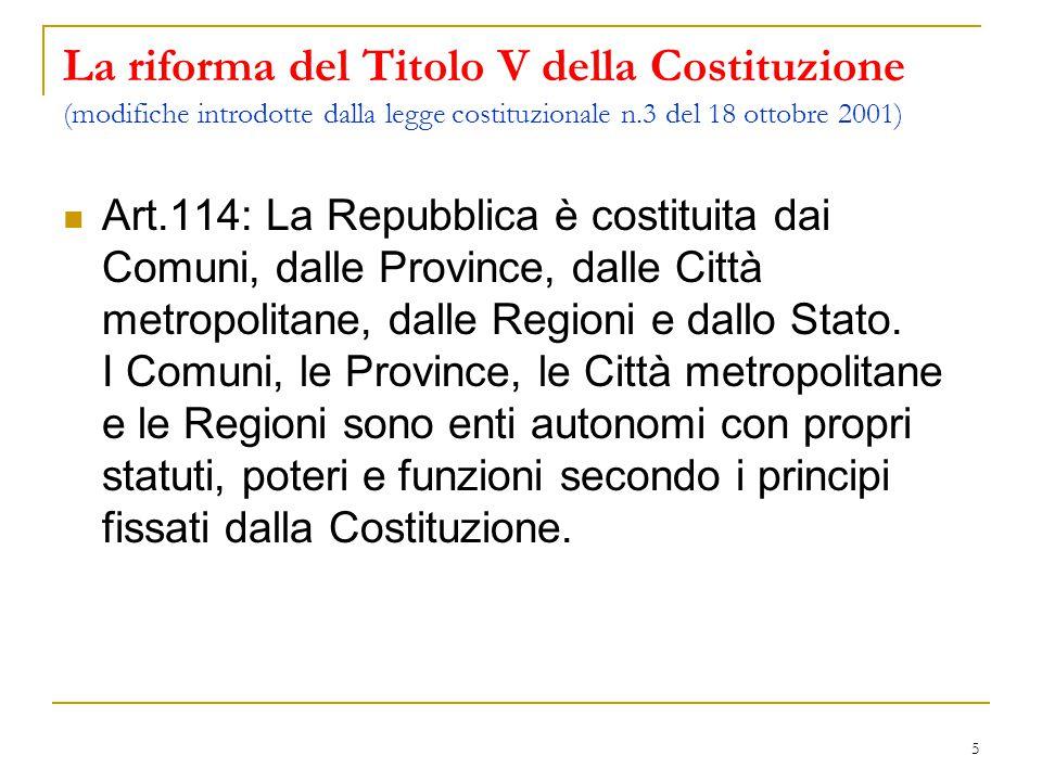 La riforma del Titolo V della Costituzione (modifiche introdotte dalla legge costituzionale n.3 del 18 ottobre 2001)