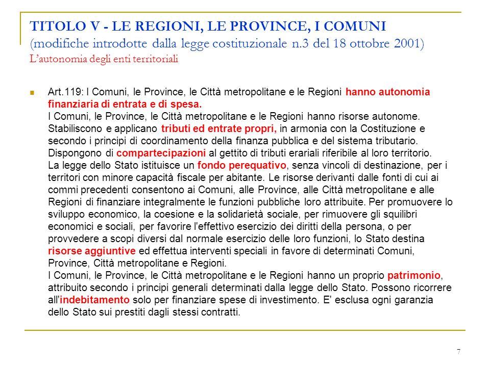 TITOLO V - LE REGIONI, LE PROVINCE, I COMUNI (modifiche introdotte dalla legge costituzionale n.3 del 18 ottobre 2001) L'autonomia degli enti territoriali