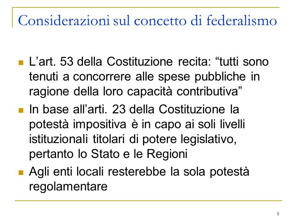Considerazioni sul concetto di federalismo