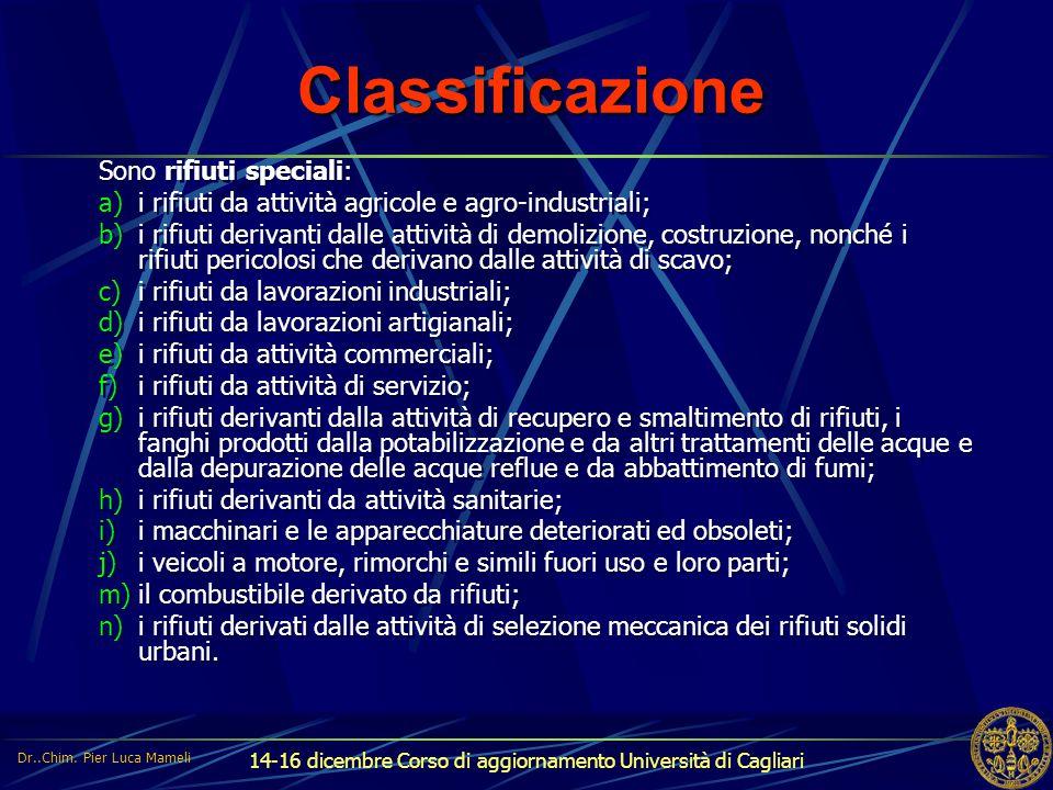 Classificazione Sono rifiuti speciali:
