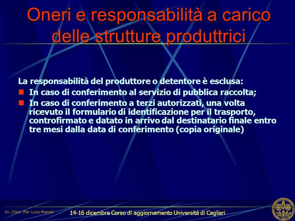 Oneri e responsabilità a carico delle strutture produttrici