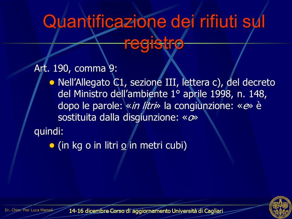 Quantificazione dei rifiuti sul registro