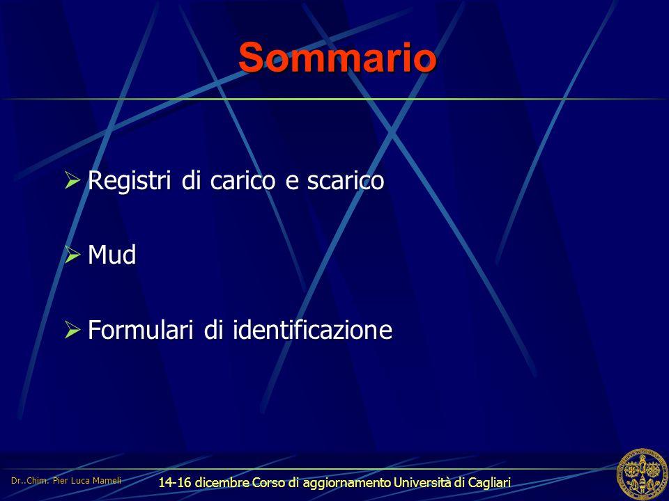 Sommario Registri di carico e scarico Mud Formulari di identificazione