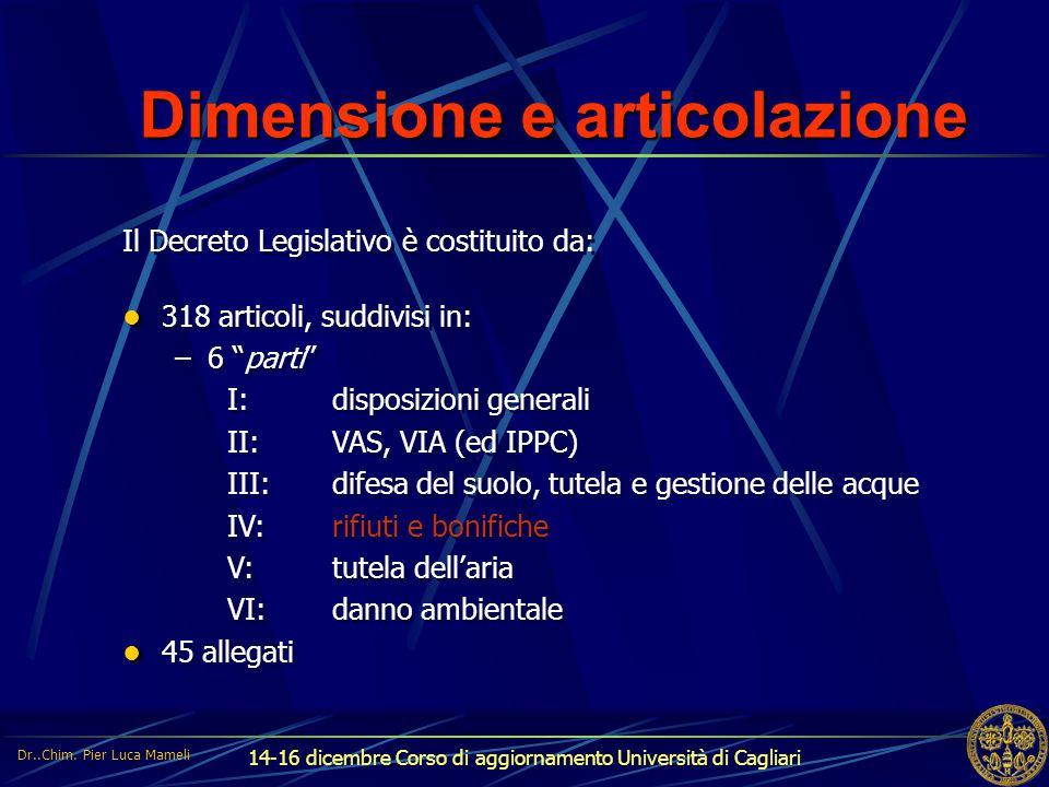 Dimensione e articolazione