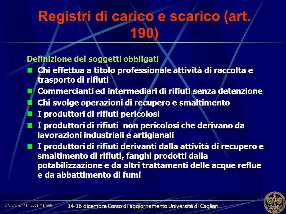 Registri di carico e scarico (art. 190)