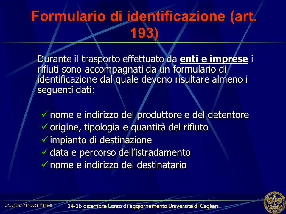 Formulario di identificazione (art. 193)