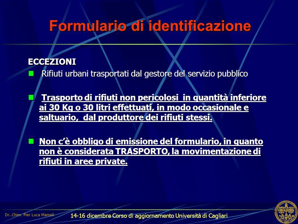 Formulario di identificazione