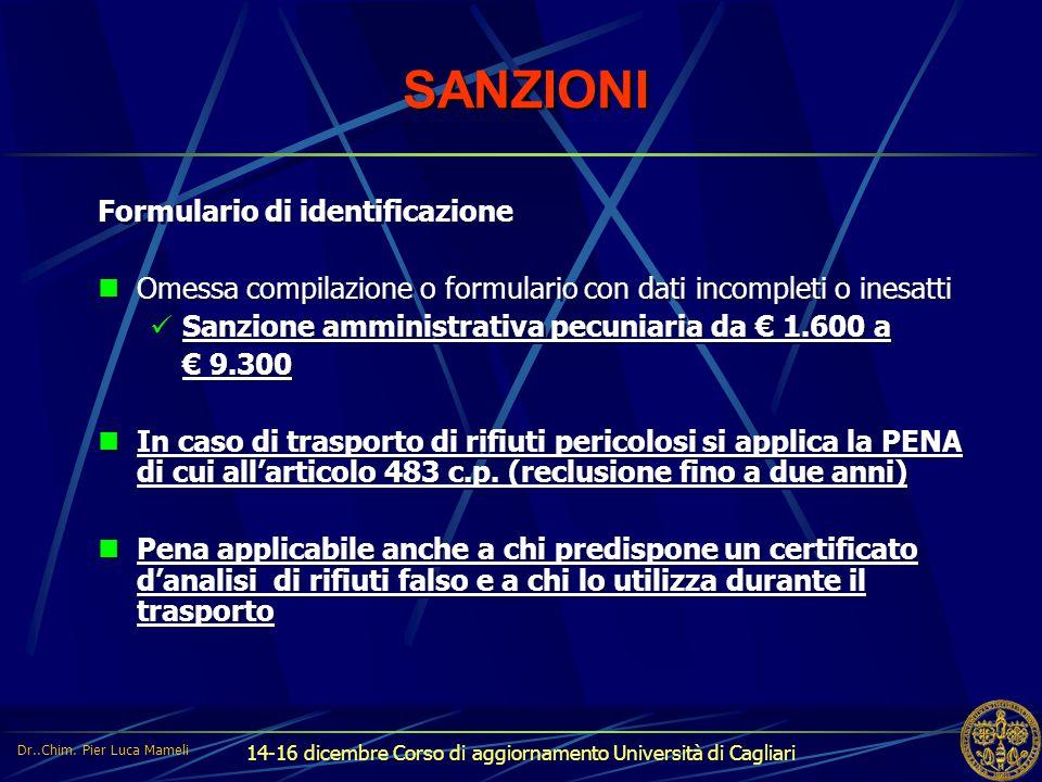 SANZIONI Formulario di identificazione