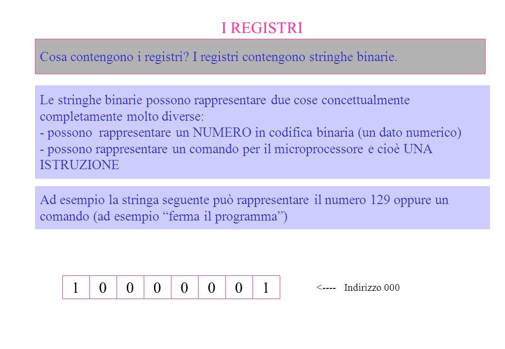 I REGISTRI Cosa contengono i registri I registri contengono stringhe binarie.
