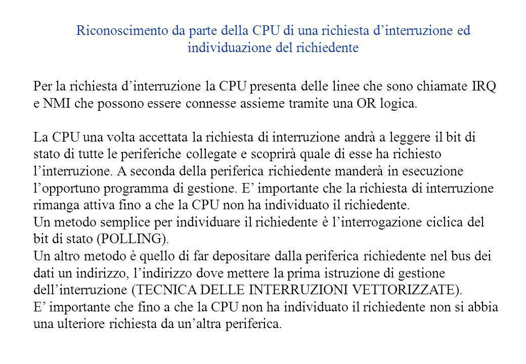 Riconoscimento da parte della CPU di una richiesta d'interruzione ed individuazione del richiedente