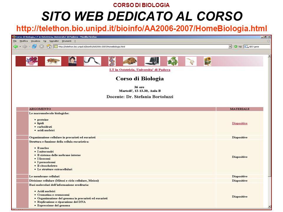 CORSO DI BIOLOGIA SITO WEB DEDICATO AL CORSO http://telethon. bio