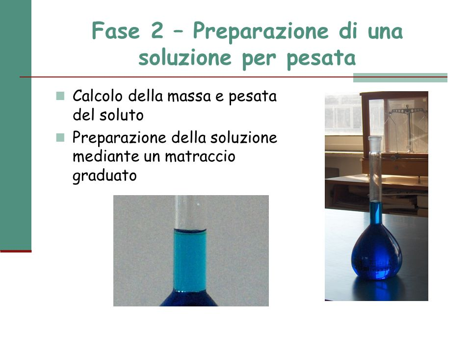 Fase 2 – Preparazione di una soluzione per pesata