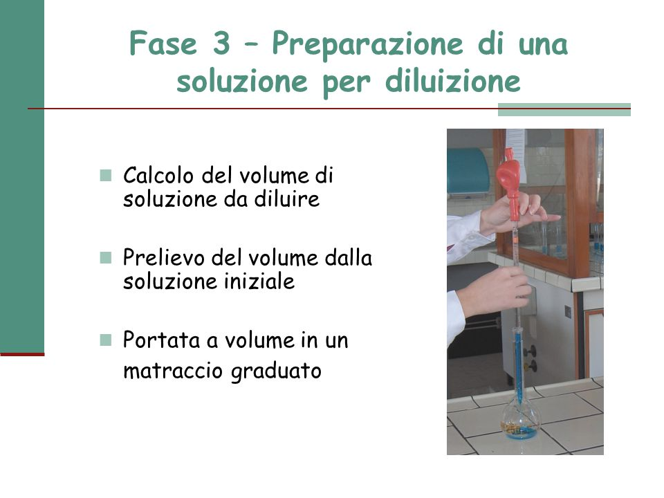Fase 3 – Preparazione di una soluzione per diluizione