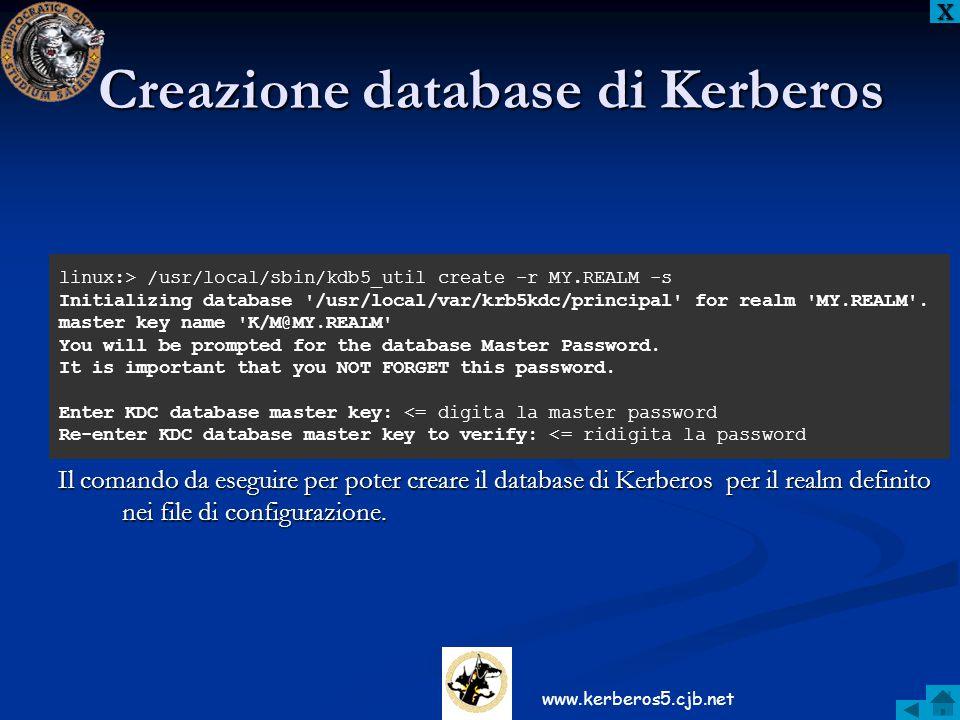 Creazione database di Kerberos