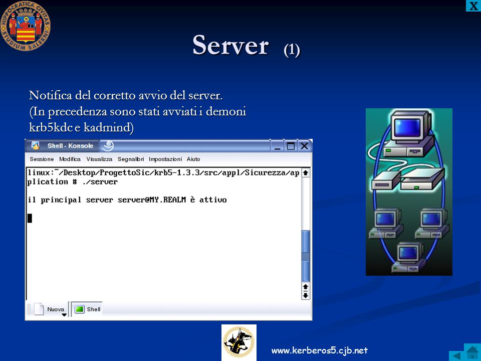Server (1) Notifica del corretto avvio del server.