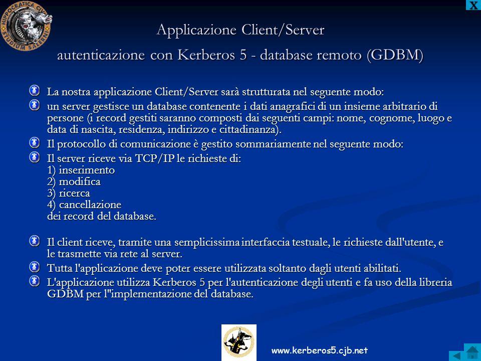 X Applicazione Client/Server autenticazione con Kerberos 5 - database remoto (GDBM)