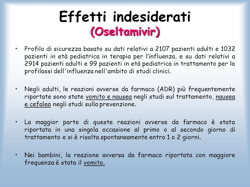 Effetti indesiderati (Oseltamivir)