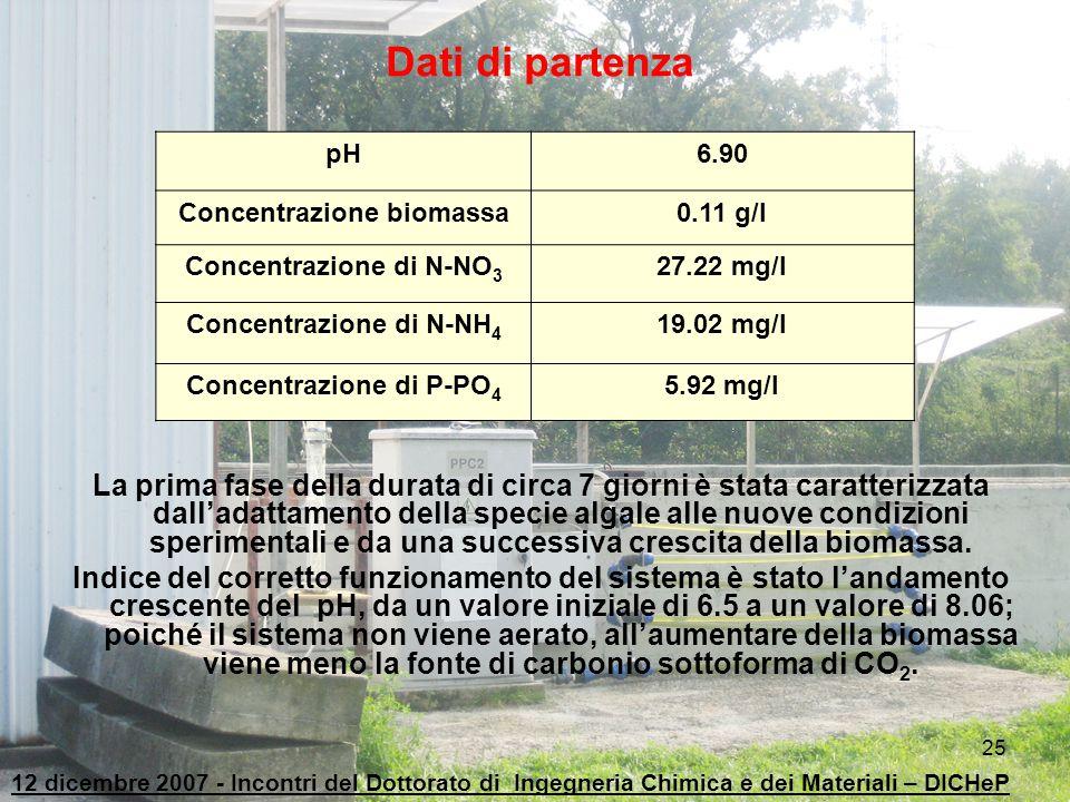 Dati di partenza pH. 6.90. Concentrazione biomassa. 0.11 g/l. Concentrazione di N-NO3. 27.22 mg/l.
