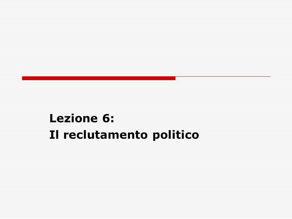 Lezione 6: Il reclutamento politico