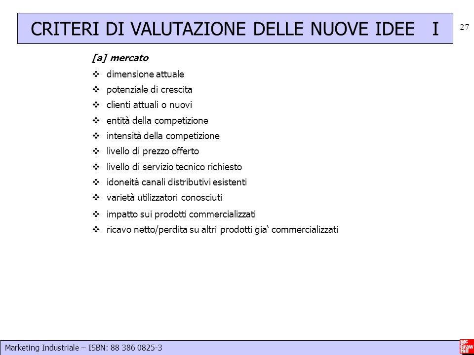 CRITERI DI VALUTAZIONE DELLE NUOVE IDEE I