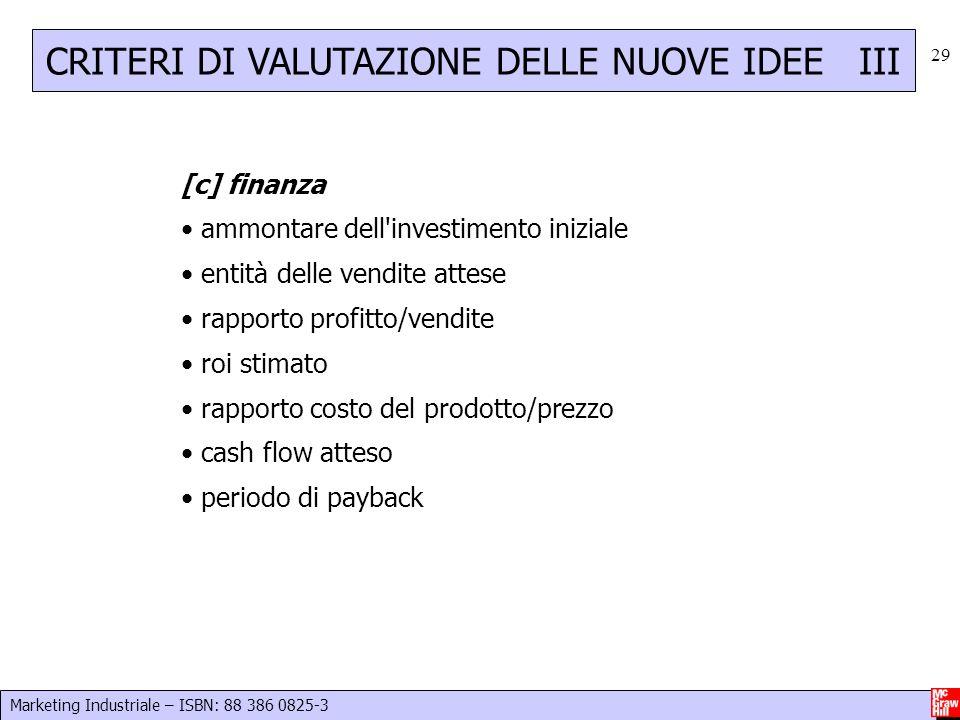 CRITERI DI VALUTAZIONE DELLE NUOVE IDEE III