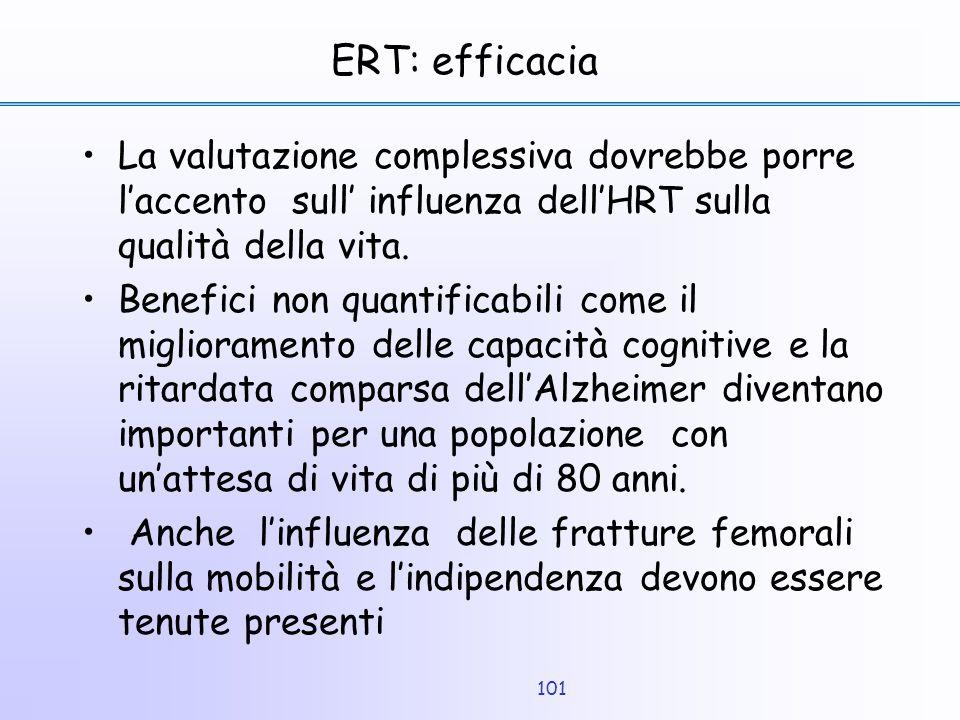 ERT: efficacia La valutazione complessiva dovrebbe porre l'accento sull' influenza dell'HRT sulla qualità della vita.