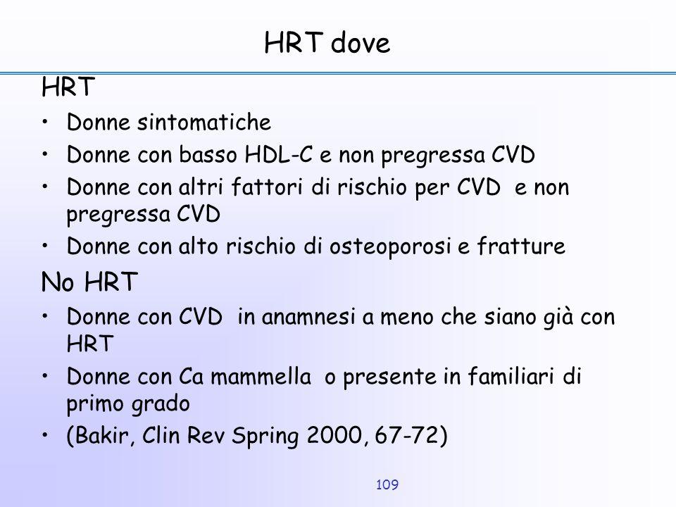HRT dove HRT No HRT Donne sintomatiche