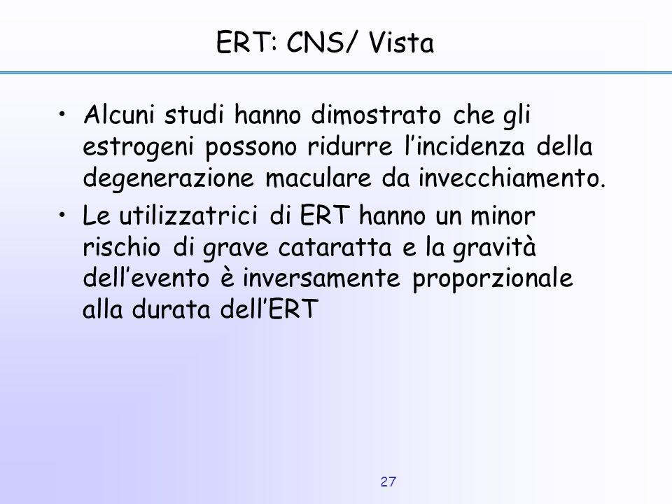 ERT: CNS/ Vista Alcuni studi hanno dimostrato che gli estrogeni possono ridurre l'incidenza della degenerazione maculare da invecchiamento.